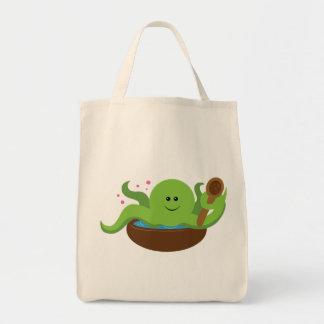 Sopa del pulpo bolsa tela para la compra
