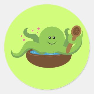 Sopa del pulpo pegatina redonda