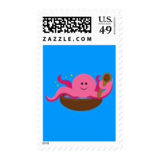 Sopa del pulpo timbre postal