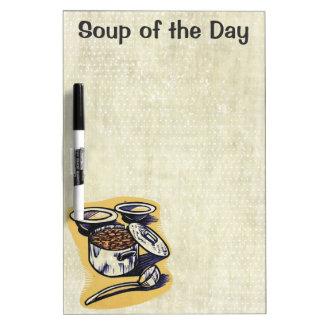 Sopa del tablero seco del borrado del menú adaptab pizarra blanca