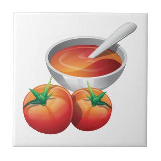 Sopa del tomate azulejo cuadrado pequeño