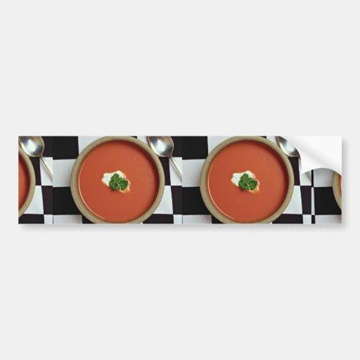 Sopa del tomate etiqueta de parachoque