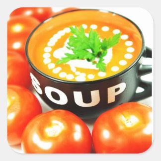 Sopa del tomate pegatinas cuadradases personalizadas