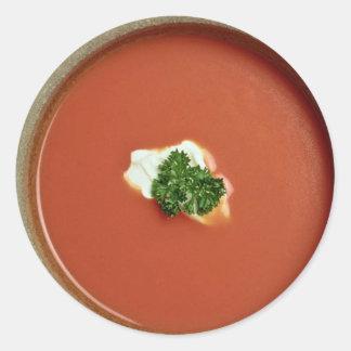 Sopa del tomate pegatinas redondas