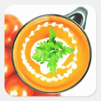 Sopa del tomate calcomanía cuadradas personalizada