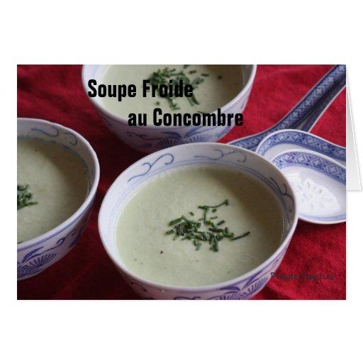 Sopa fría del pepino tarjeton