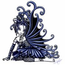sophia, blue, fairy, tattoo, cute, adorable, ruffles, wings, faery, fae, faerie, fairies, pixie, myka, jelina, gothic, fantasy, art, fine, characters, Photo Sculpture with custom graphic design