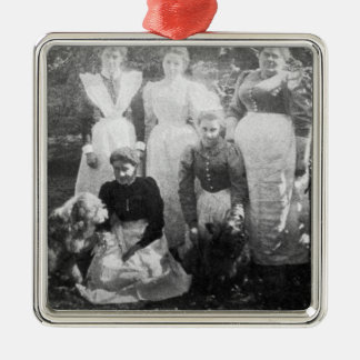 Sophia Farrell and maids, 1899 Square Metal Christmas Ornament