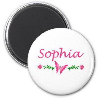 Sophia (mariposa rosada) imán redondo 5 cm