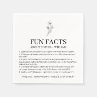 Sophia Modern Wedding Reception Fun Facts Cocktail Napkins