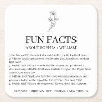 Sophia Modern Wedding Reception Fun Facts Square Paper Coaster