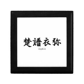 Sophia tradujo a símbolos japoneses del kanji cajas de recuerdo