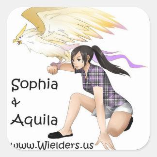 Sophia y Aquila - de la serie del libro de Pegatina Cuadrada