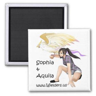 Sophia y Aquila - de la serie del libro de Wielder Imán Cuadrado
