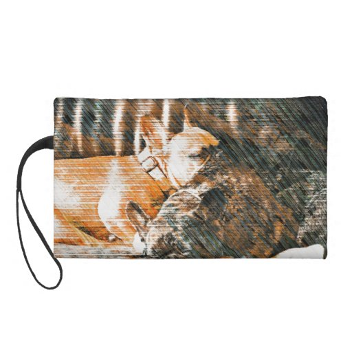 Sophie and Penny the french bulldogs Wristlet Clutch