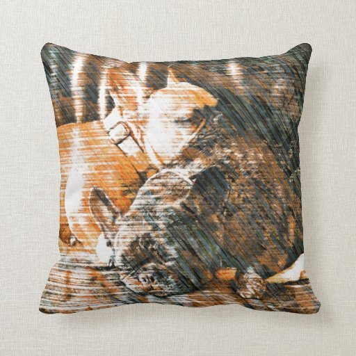 Sophie and Penny the french bulldogs Throw Pillow