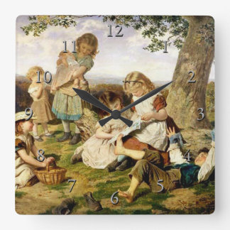 """Sophie Anderson's """"The Children's Story Book"""" Square Wall Clock"""
