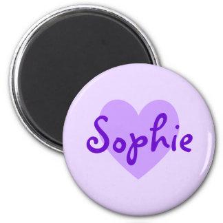 Sophie en púrpura imán redondo 5 cm