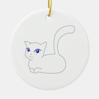 Sophie the Glamorous White Cat Ceramic Ornament