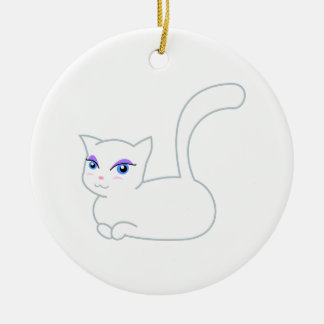 Sophie the Glamorous White Cat Double-Sided Ceramic Round Christmas Ornament