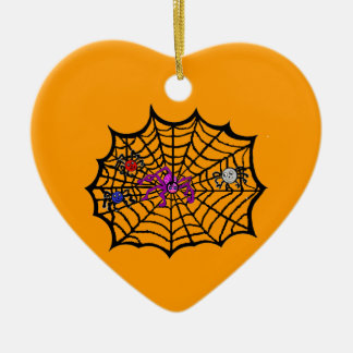 Sophie the Spider caught in her web Double-Sided Heart Ceramic Christmas Ornament