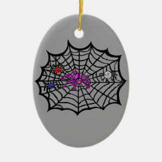 Sophie the Spider caught in her web Double-Sided Oval Ceramic Christmas Ornament