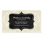 Sophistiacted Cream Damask Pattern Chalkboard Double-Sided Standard Business Cards (Pack Of 100)