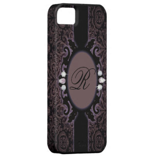 Sophisticate purpleDamask vintage monogram iphone5 iPhone 5 Cases