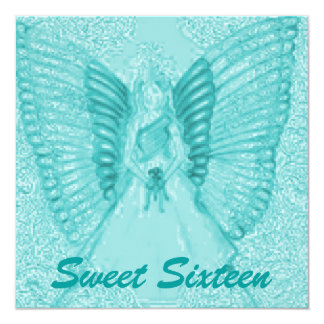"Sophisticated Angelic S-16 Aqua Invitation-Cust. 5.25"" Square Invitation Card"