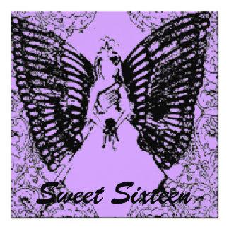 """Sophisticated Angelic S- 16 Black/Purpl Invitation 5.25"""" Square Invitation Card"""