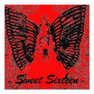 "Sophisticated Angelic S- 16 Black/Red Invitation 5.25"" Square Invitation Card"