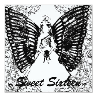 """Sophisticated Angelic S- 16 Black/White Invitation 5.25"""" Square Invitation Card"""