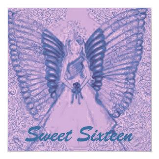 """Sophisticated Angelic S-16 Blue/Purple Invitation 5.25"""" Square Invitation Card"""