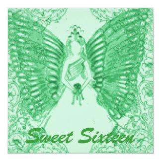 "Sophisticated Angelic S-16 Green Invitation-Cust. 5.25"" Square Invitation Card"