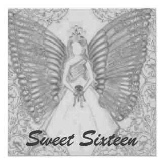 "Sophisticated Angelic S-16 Grey Invitation-Cust. 5.25"" Square Invitation Card"
