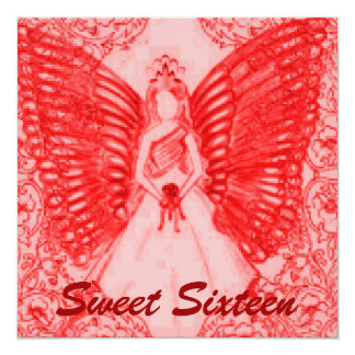 """Sophisticated Angelic S-16 Red Pink Invitation 5.25"""" Square Invitation Card"""