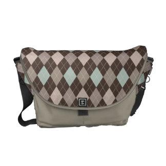Sophisticated Argyle in Subtle Pastel Brown Commuter Bag