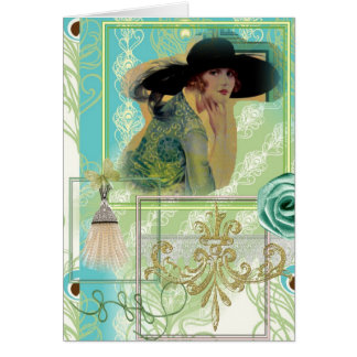 Sophisticated Art Deco Lady Greeting Card