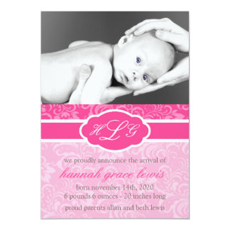 Sophisticated Baby Announcement (Raspberry Pink)