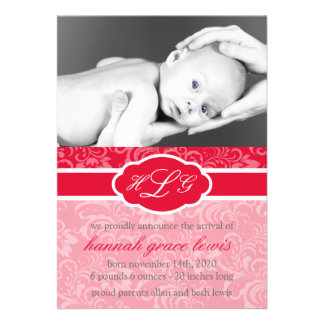 Sophisticated Baby Announcement Red