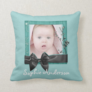 Sophisticated Baby Girl Photo Personalized Pillow