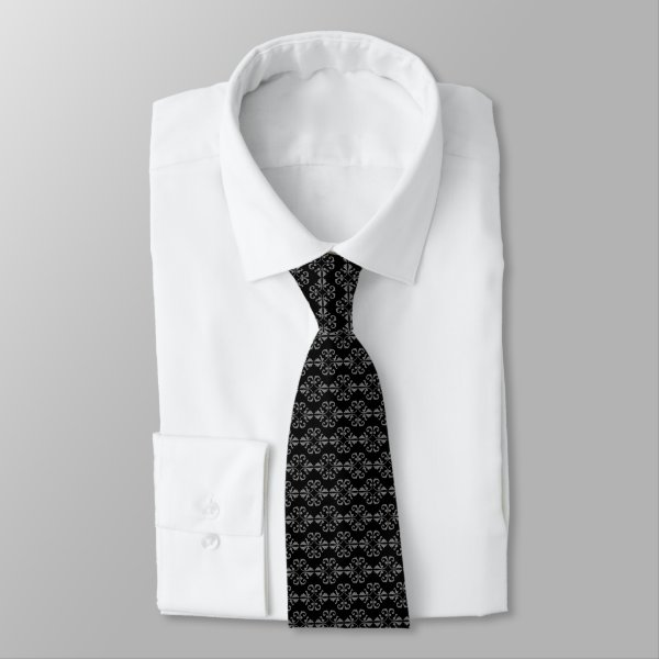 Sophisticated black and grey damask neck tie