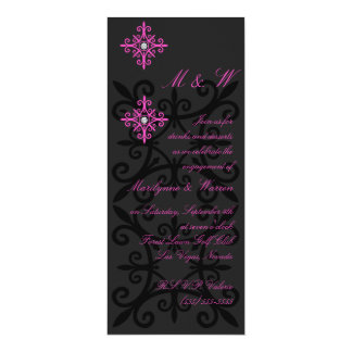 Sophisticated Black and Pink Engagement Party Card