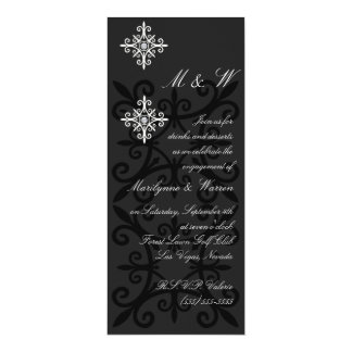 Sophisticated Black and White Engagement Party Card