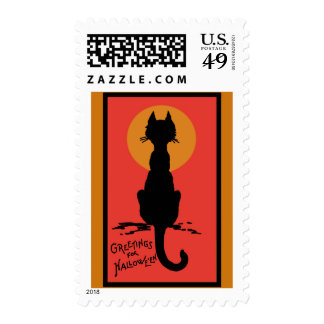 Sophisticated Black Cat Halloween Postage Stamps