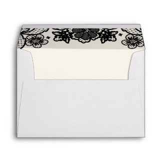 Sophisticated Black Lace Wedding Day Lined Envelope