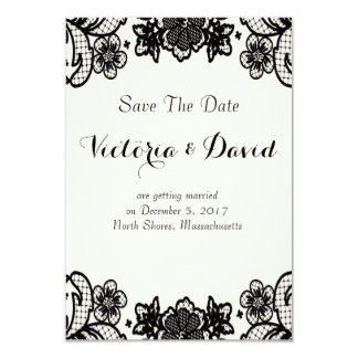 Sophisticated Black Lace Wedding Save-The-Date Card