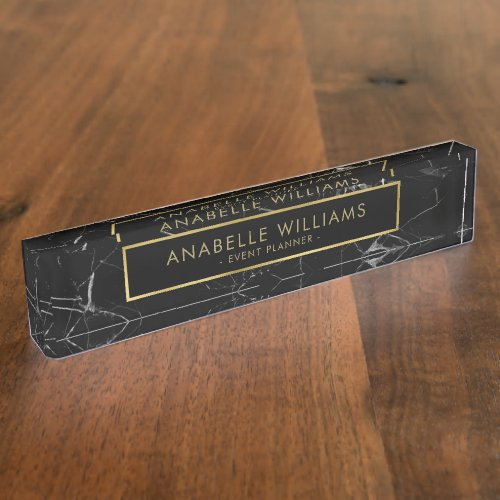 Sophisticated Black Marble and Gold Texture Desk Name Plate
