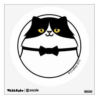 Sophisticated Black & White Cat Wall Sticker