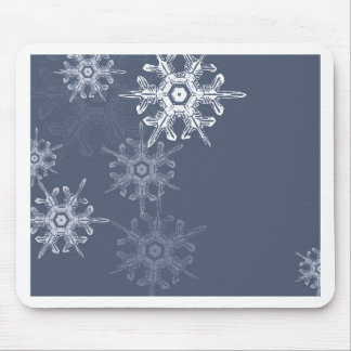 Sophisticated blue/gray snowflakes mouse pad